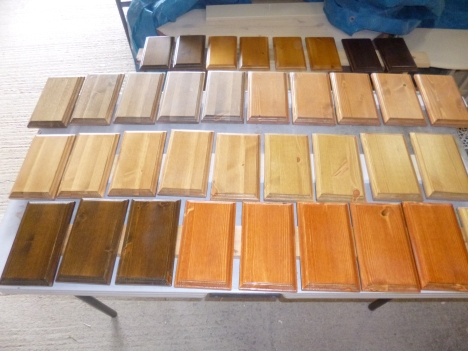 Sample stained and clear lacquered slabs.
