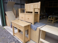 Oak.Hall table and bench. In the workshop, just finished.