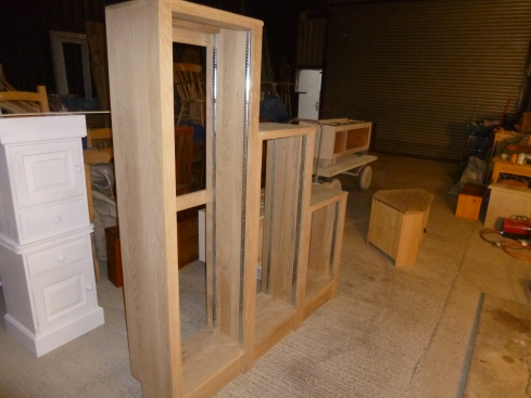 Waterfall Bookcases in build